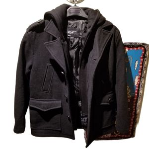🥶 BLACK RIVET Kids Hooded Wool Pea Coat (Size M)